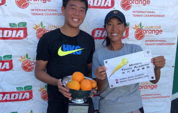 Hong Kong's Coach Ka Po Tong and Coleman Wong, under-14 champion at the prestigious Junior Orange Bowl 2018